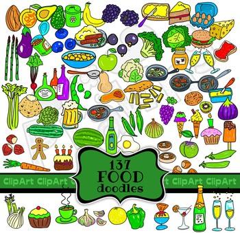 Food and Drink Doodle Clip Art Mega Pack