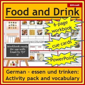 German - essen und trinken, food and drink: 6pg wkbk, PowerPoint, cards, vocab