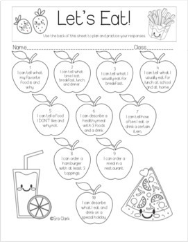 Food and Drink NO PREP Speaking Stamps Activity for Language Learners