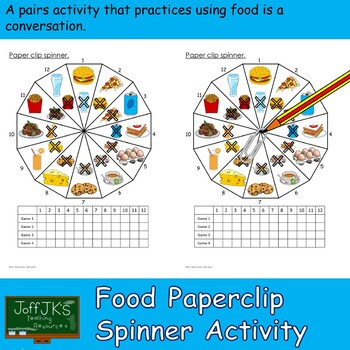 Food and Drink Paperclip Spinner Activity