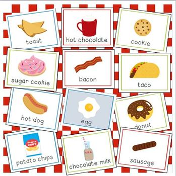 Food and Drink Vocabulary Cards for Preschool and Kindergarten
