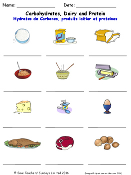 Food and Drink in French Worksheets