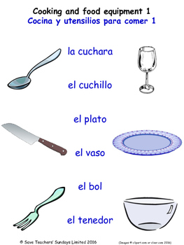 Food and Drink in Spanish Matching Activities