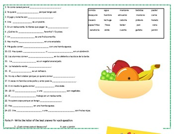 Food and Drinks in Spanish Packet - 17 activities