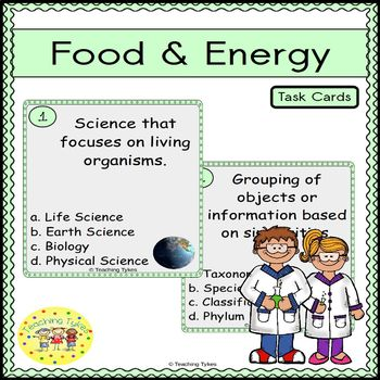 Food and Energy Task Cards