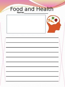 Food and Health Theme writing worksheet