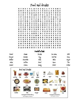 Food and drinks Wordsearch with mini pictionary