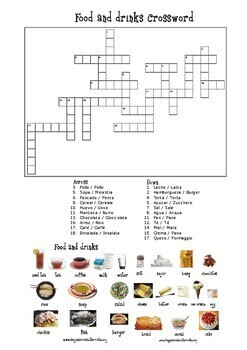 Food and drinks crossword with mini pictionary