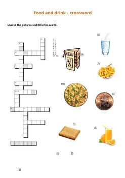 Food and drinks crosswords