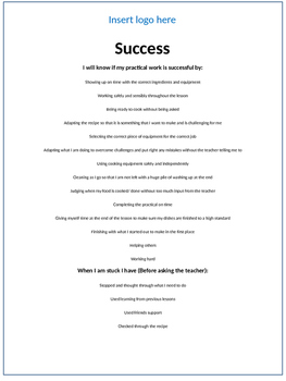Food, cooking and Catering practical success criteria poster