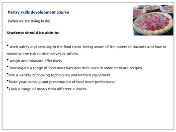 Food, cooking and catering pastry skills development course