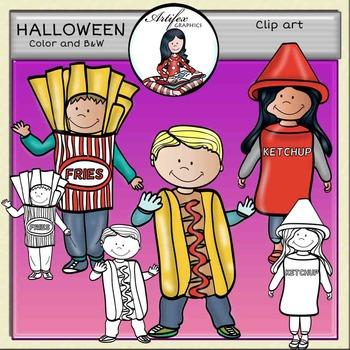Food costumes. Halloween clip art. ►FREE◄