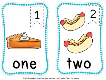 Food NUMBER flash cards(free)