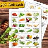 Food flash cards: vegetables, fruits, nuts, berries, meat,