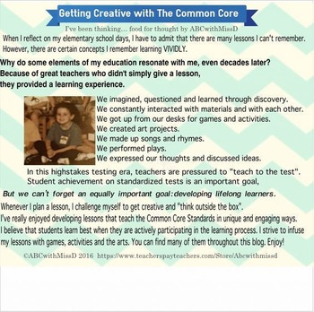 Food for Thought- Reflections on Creativity and the Common Core