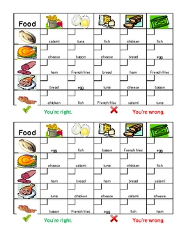 Food in English Grid vocabulary activity