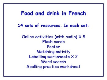 Food in French Worksheets, Games, Activities & More (with audio)  Bundle