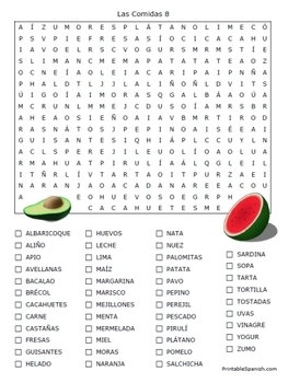 Food in Spanish -- 16 Puzzle Packet