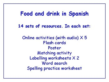Food in Spanish Worksheets, Games, Activities & More (with audio)  Bundle