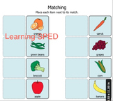 Food matching fruits and vegetables sorting matching activity