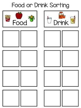 Food or Drink Sorting Interactive Board