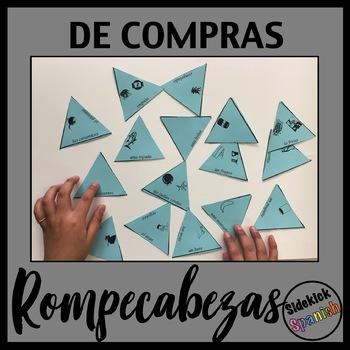 Food Shopping Spanish Vocabulary Puzzle & Matching Activity