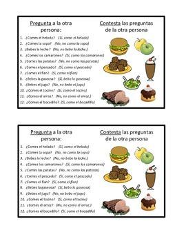 Food vocabulary Partner Conversation Activity