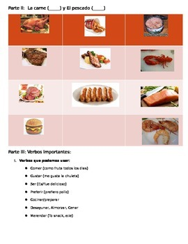 Food vocabulary guided notes