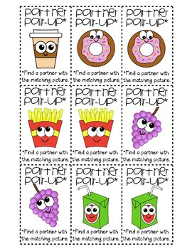 Food with Faces Partner Pair-Up Cards