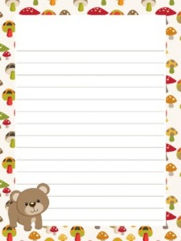 Woodland Forest Animals - Fox included - Writing Paper - 3 styles (7 1/2 x 10)