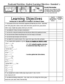 Foods 1 Learning Objective Sheets
