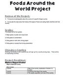Foods Around the World Project for Culinary Arts or Foods Class