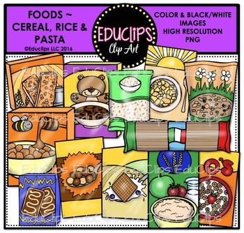 Foods~Cereal, Rice & Pasta {Educlips Clipart}