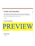 Foods Lab Evaluation