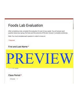 Foods Lab Evaluation