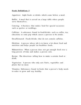 Foods or Culinary Arts Vocabulary for ELL, SPED or sub materials, SLP