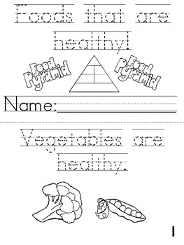 """""""Foods That Are Healthy"""" Cut, Trace & Color Printable Book"""