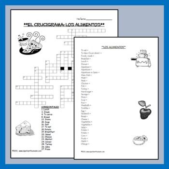 Foods Vocabulary Lists, Activities, Crossword, Games, and Quiz Unit