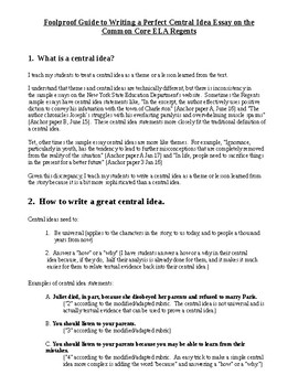 Foolproof Guide to Writing a Central Idea/Task 3 Regents Essay