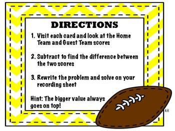 Super Bowl LI Subtraction Scavenger Hunt Around the Room- Football Math