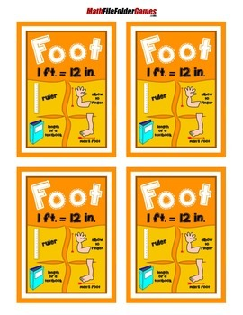 Foot = Measurement Poster/Anchor Chart with Cards for Students