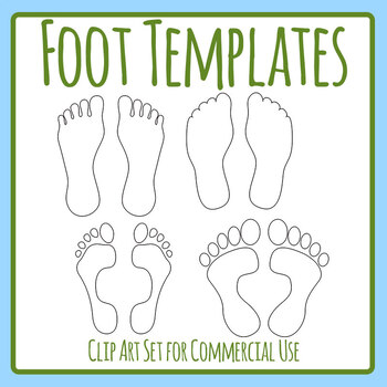 Foot Templates / Feet Templates / Shapes / Outlines Clip Art Set Commercial Use