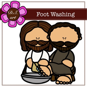 Foot Washing Digital Clipart (color and black&white)