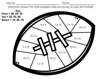 Football 10xSingle Digit Multiplication Coloring Sheet
