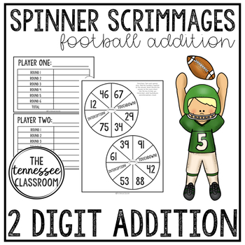 Football 2 Digit Addition Game: Scrimmage Spinners