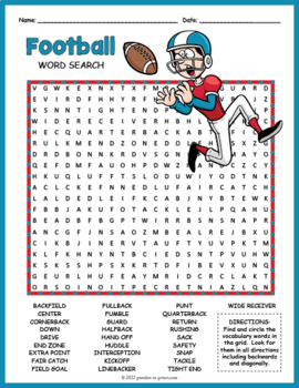 Football Word Search Worksheet