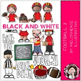 Football 3 clip art - BLACK AND WHITE - Melonheadz Clipart
