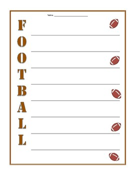 Football Acrostic Poetry Frame - The Day After The Superbowl