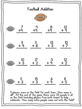 Football Activities Fun - 1st, 2nd, 3rd grade