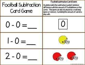 Football Add & Subtract 0-10 Number Sentence Match Game